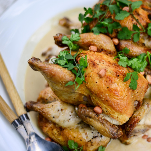 Thai Roast Baby Chickens With Coconut Sauce,  Coriander & Toasted Peanuts